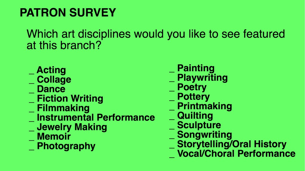 Questions to use when surveying patrons about creative aging program preferences.