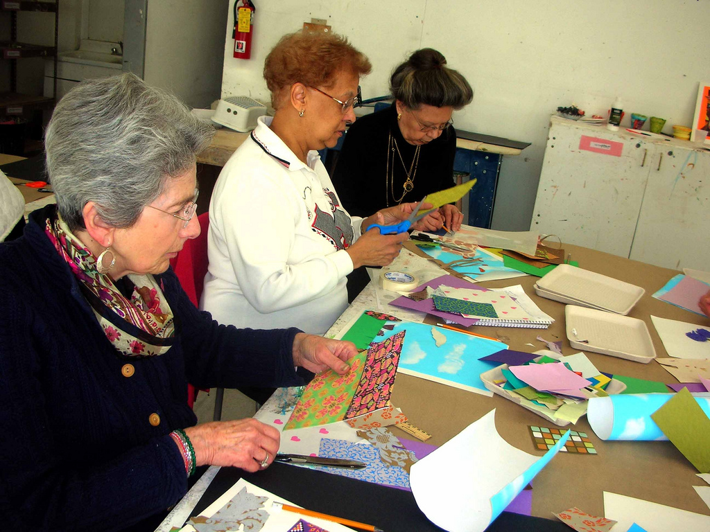 Participants working at The Pelham Art Center.